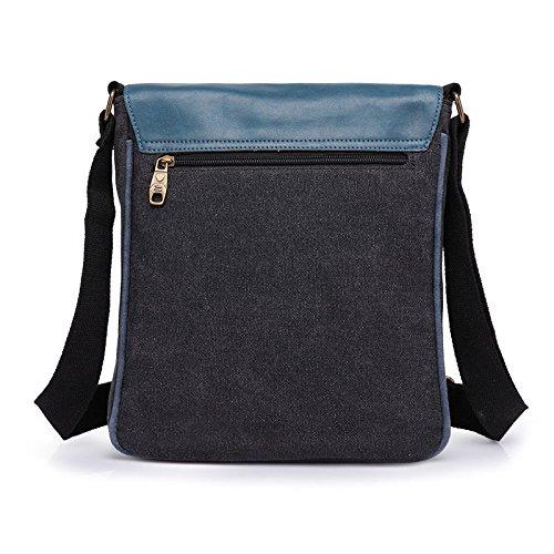 VRIKOO Fashion Men Canvas Shoulder Bag Satchel Messenger Bag Schoolbag Casual Weekender Bag (Blue) Negro