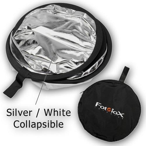 Fotodiox Pro 2-in-1 Reflector - 42in (100cm) Premium Grade Collapsible Disc (Silver/White)
