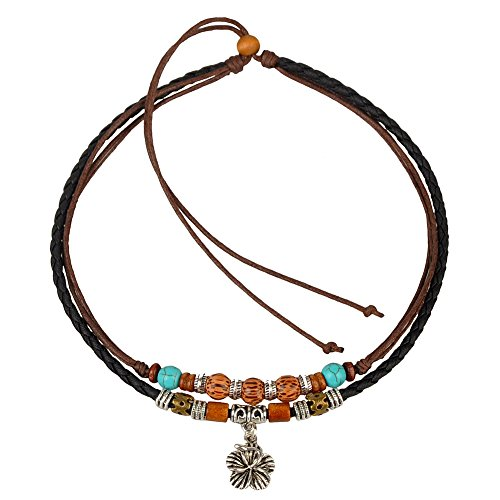Ancient Tribe Vintage Hemp Leather Choker Necklace,Black