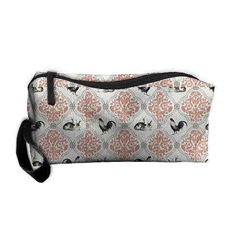 Jessent Coin Pouch Rabbit Cock Pen Holder Clutch Wristlet Wallets Purse Portable Storage Case Cosmetic Bags Zipper ()