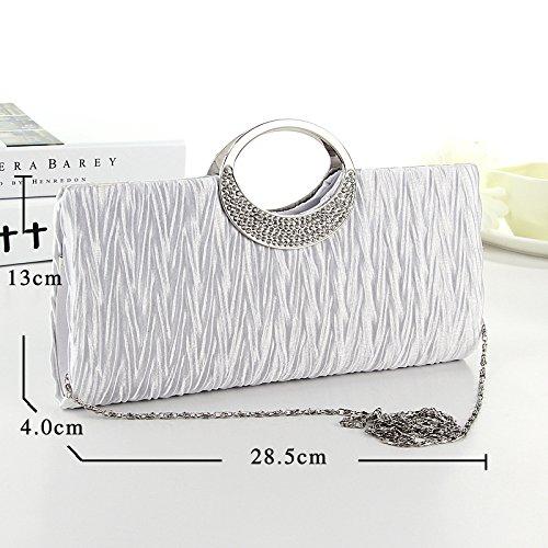 Soirée de fête et pour de mariage main Mode Noir Pochette Blanc Blanc sac Satin sacs à sacoche en Dxlta Strass femmes nuptiale 6qFwZxZCt