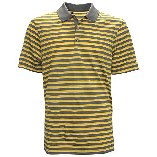 adidas Golf Men's Club Merch Stripe Polo, Vista Grey/Eqt Yellow/White, Medium Adidas Club Line