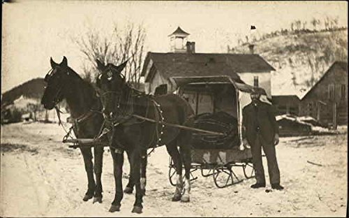 Sled Drawn - Horse Drawn Sled in Snow Original Vintage Postcard