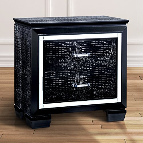 ModHaus Living Modern Wood Crocodile Textured Nightstand End Table with 2 Drawers - Includes Pen (Black)
