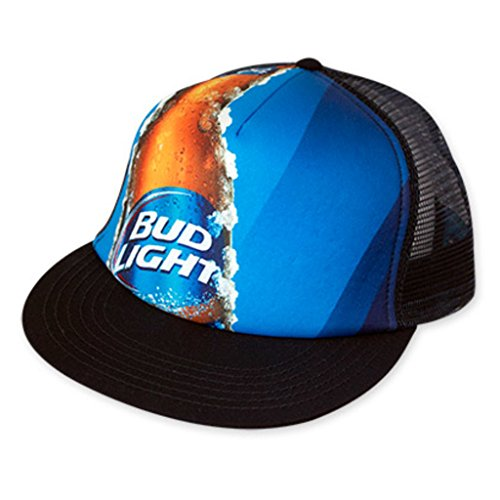 bud-light-adult-mesh-foam-panel-beer-lager-blue-flat-bill-snapback-hat-cap-blue