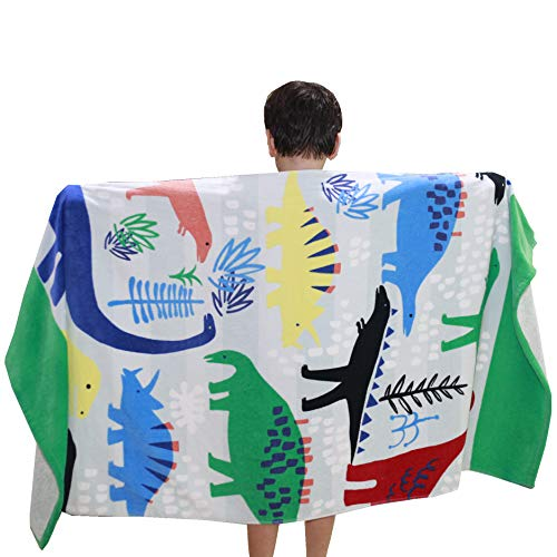 Wowelife Dinosaur Upgraded Bath Towel Kids for Bath, Pool and Beach, 100% Cotton 30 x 50 inch for Children and Adults, Fits 4-12 Years Old(Dinosaur Towel)]()