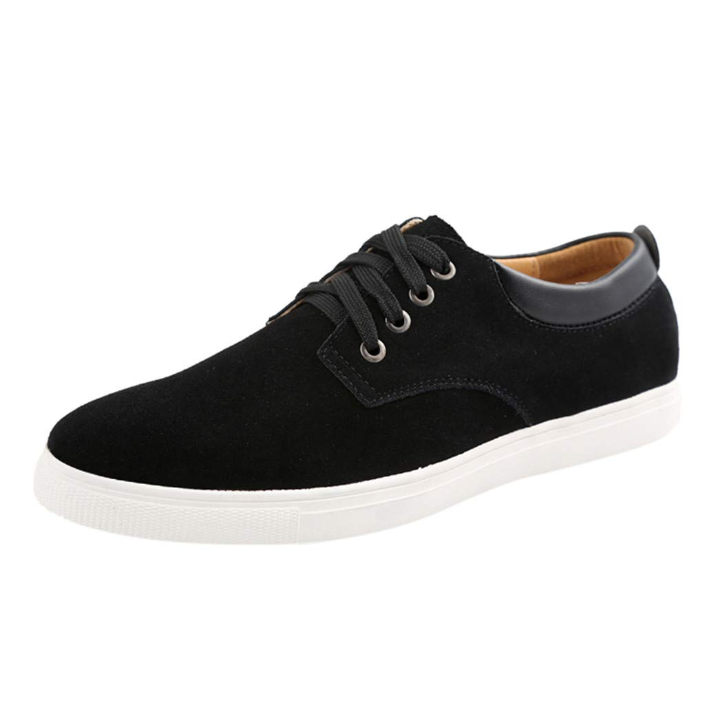 Respctful✿ Men's Sneaker Flat Casual Shoes Breathable Flat Fashion Suede lace up Shoes for Men Classic Lightweight Shoes Black