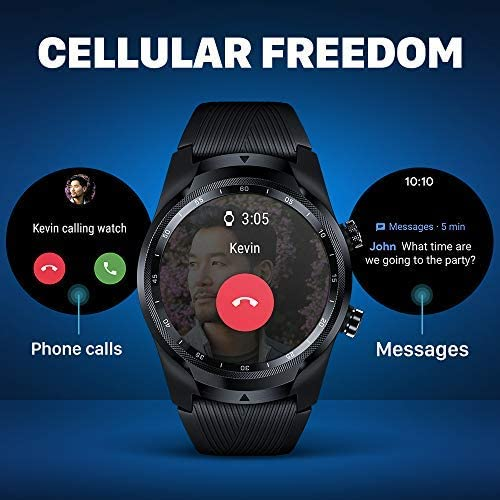 TicWatch Pro 4G LTE Cellular Smartwatch GPS NFC Wear OS by Google Android Health and Fitness Tracker with Calls Notifications Music Swim Sleep Tracking Heart Rate Monitor US Version 5