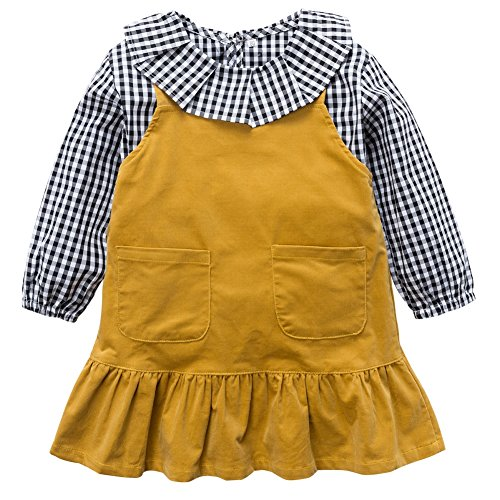 Corduroy Plaid Overalls (Soly Tech Kids Girls Long Sleeve Plaid Shirts Tops and Corduroy Overalls Dresses)