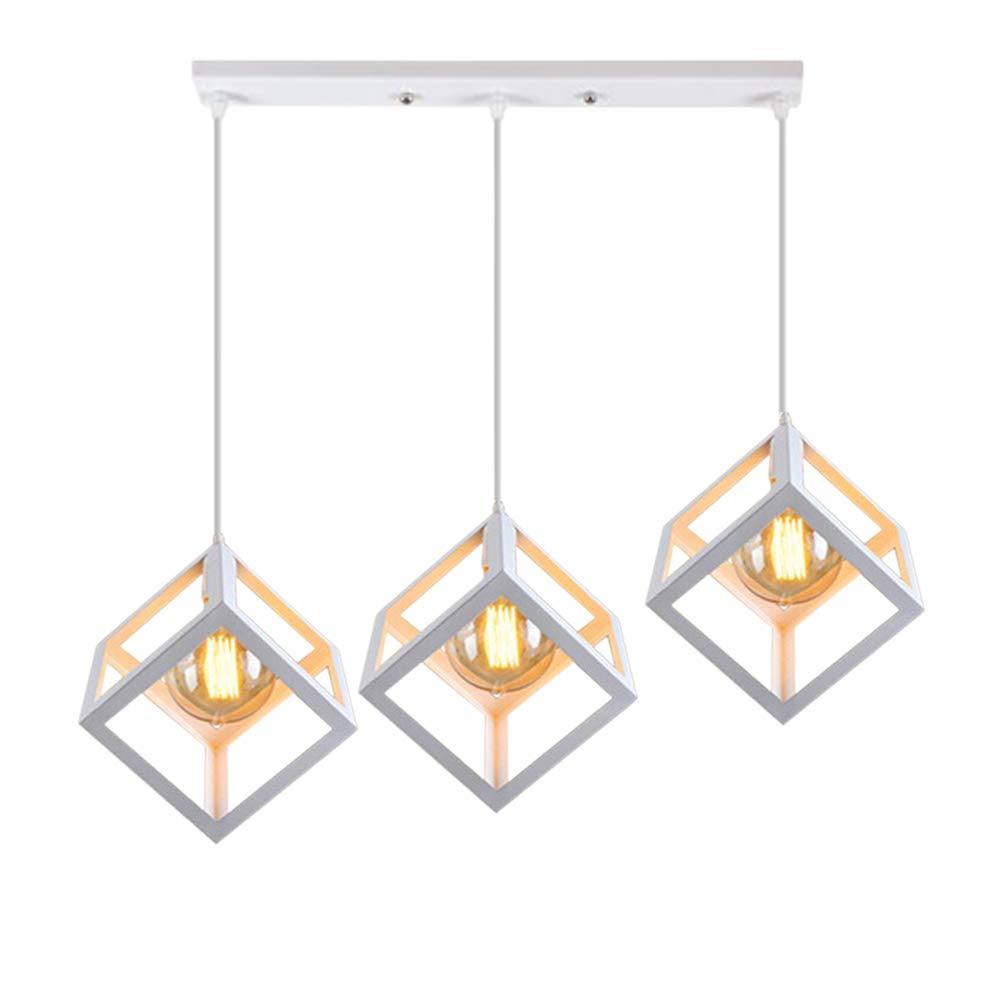 STOEX Métal Suspension Luminaire Industrielle en Barre 3 Lampes, Lampe de Plafond Abat-Jour E27, Blanc