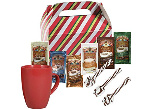Land O Lakes Hot Cocoa Classics Mix 8 Packets Total Each 1.25 oz | Red 12 0z Mug | 3 Hot Cocoa Hard Candy Spoons| Holiday Themed Gift Box | Thanksgiving Christmas Special Event Stocking Stuffer