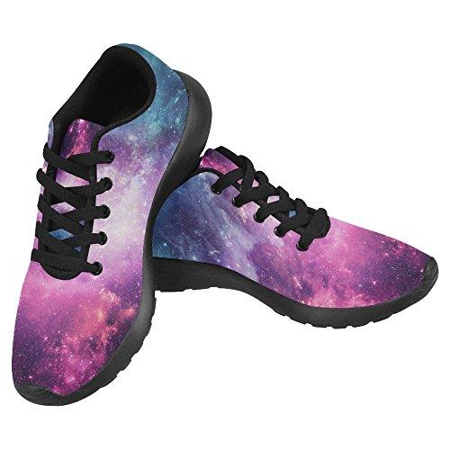 InterestPrint Women's Jogging Work Shoes Lightweight Sport Running Sneaker Flats - Purple Galaxy