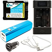 Canon FS100 Battery with Universal Charger, 3000mAh Portable External Battery Charger, Dual USB Car Plug & Multiple USB Cable - Replacement Canon BP-808 Digital Camcorder Battery and Charger