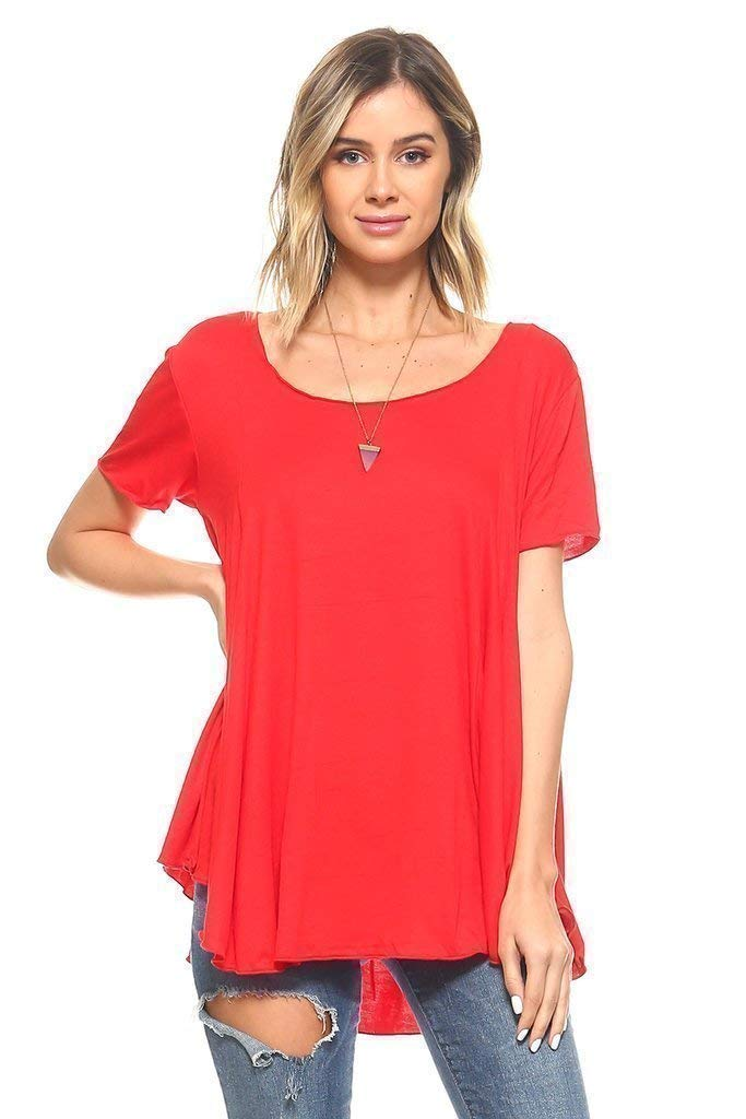 f0b8346b124 Top14: Simplicitie Women's Short Sleeve Loose Fit Flare Flowy T Shirt Tunic  Top - Regular and Plus Size - Red - Made in USA