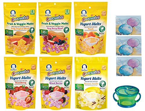 Gerber Graduates YOGURT MELTS Variety Pack + Snack Catcher; Disposable Bibs; and Sanitizing Hand Wipes. 4 Yogurt Melts and 2 Fruit and Veggie Melts. Baby Care Package, Gift. (Bundle of 6 Melts)