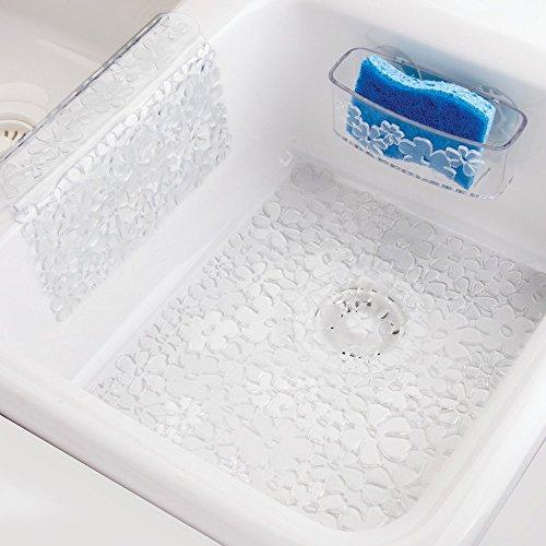InterDesign Blumz Kitchen Sink Suction Holder for Sponges, Scrub Brushes, Soap - Clear