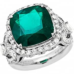 Amoro 18k White Gold Colombian Emerald Ring and Diamond Ring (1.84 cttw, G-H Color,VS2-SI1 Clarity)