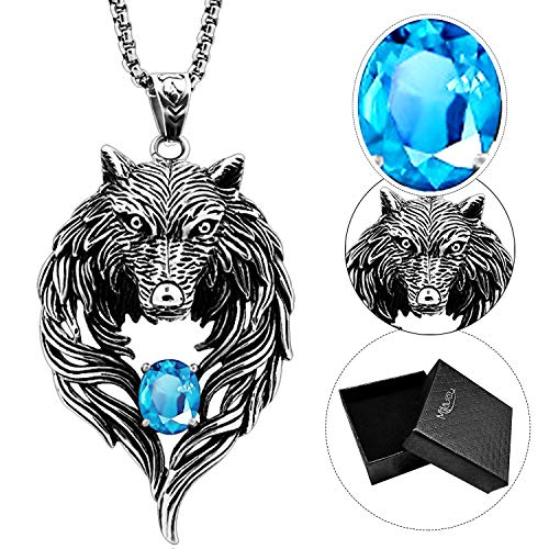 MILOVE-U Men Necklace Wolf Head Pendant Necklace for Men Wolf Head Necklace and 29inch Lenght Necklace Chain