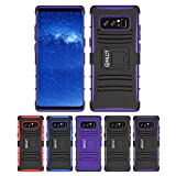 Galaxy Note 8 Stand Case, HLCT Rugged Shock Proof Dual-Layer Case with Built-In Kickstand (2017) (BlackPurple)