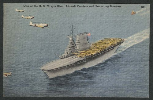 US Navy Giant Aircraft Carrier & Protecting Bombers postcard 1930s