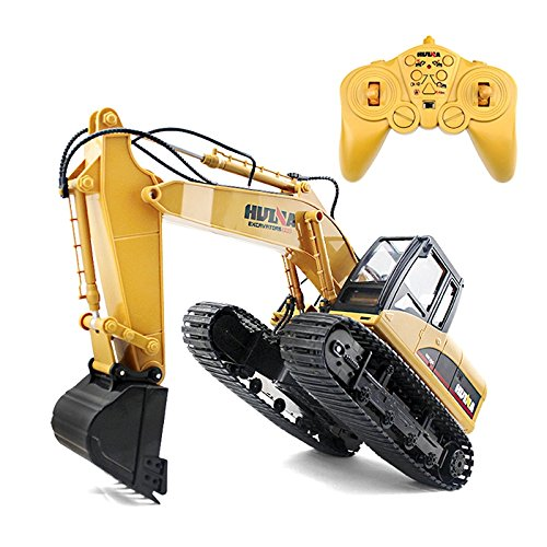 RC Alloy Excavator Toy, Remote Control 1:14 Scale 2.4GHz 15CH RTR with Independent Arms Programming Auto Demonstration Function, Toy Caterpillar Car Christmas Birthday Gifts for Kids Child Boys Girls
