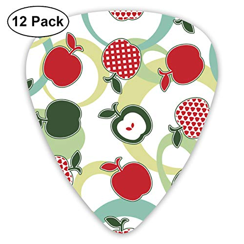 Green And Red Apple Ultra Light 0.46 Medium 0.73 Heavy 0.96mm Printed Round Flat Soft Plastic Jazz Electric Acoustic Bass Guitar Pick Accessories Variety Pack ()