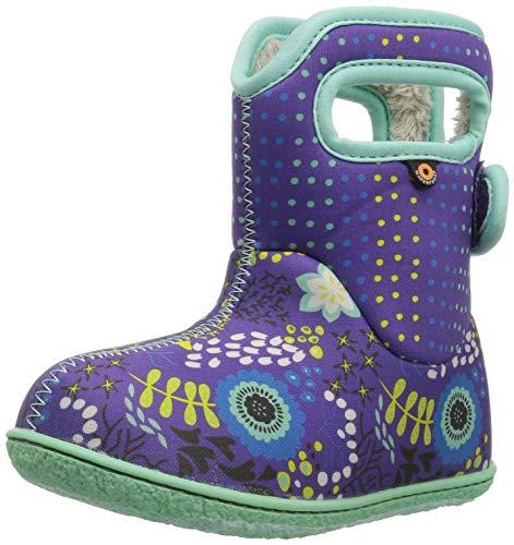 Bogs Baby Snow Boot, New Flower Dot/Violet/Multi, 10 M US Toddler -