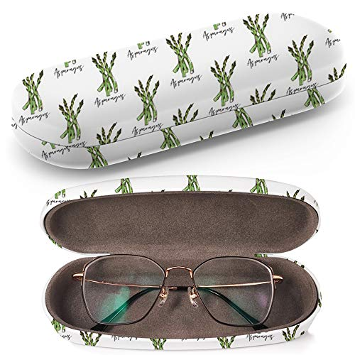 Hard Shell Glasses Protective Case with Cleaning Cloth for Eyeglasses and Sunglasses - Vegan Food Asparagus