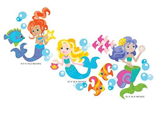 (Mermaid Fabric Wall Decals, Under the Sea Theme with set of 3 Beautiful Mermaids, Fish, and Bubbles, Reusable, Repositionable - Two Sizes Available)