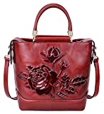 Pijushi Designer Classic Designer Genuine Leather Floral Ladies Satchel Top Handle Lash Handbags 65445 (Big Size, New Red)