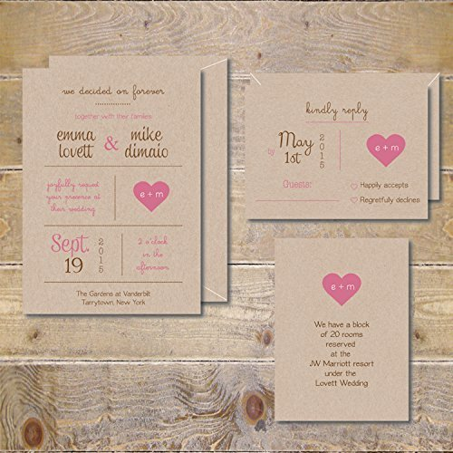 Pink Response Cards (5 by 7 Wedding Invitations Invite Suite Set Response Card Information Cards Save The Dates Modern Rustic Recycled)