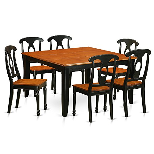 East West Furniture PFKE7-BCH-W 7 Piece Dining Table and 6 Solid Wood Seat Chairs Set