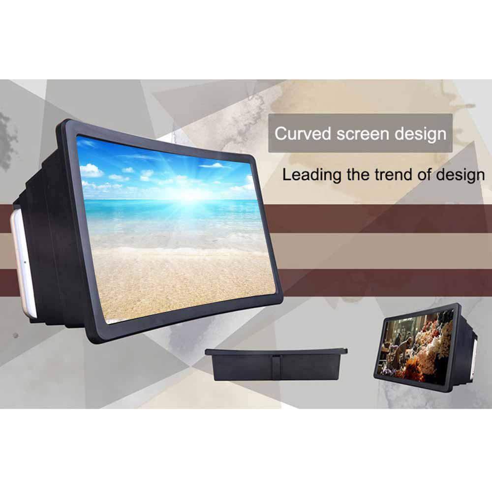 lupa de tel/éfono inteligente de pantalla 3D proteger los ojos lupa de pantalla retr/áctil 3D con soporte de soporte plegable Perfuw Amplificador de pantalla plegable universal de 14 pulgadas