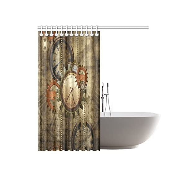 "CaseCastle Waterproof Bathroom Fabric Shower Curtain Steampunk Clocks and Gears Print Design 72""x72"" 4"