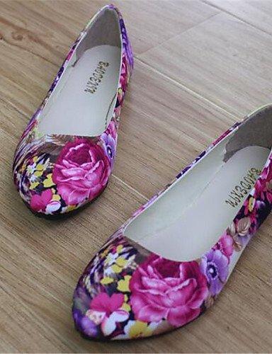 punta redonda uk6 púrpura 5 us8 eu39 de cn40 zapatos Flats talón purple verde Casual 5 de plano PDX gris mujer Y0qPTT