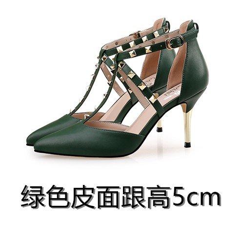 Vivioo Dames Hoge Hakken Sandalen Sandalen Hakken Zomer Hoge Hak Klinknagel Sandalen Vrouwelijke Tip Kleine Tuin Grote Tuin Groen 5cm