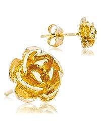 Solid 14K Yellow Gold Rose Flower Petal Earrings | Super-Cute Delicate Design for Women | 7.0mm Width