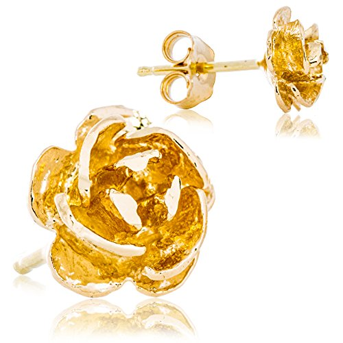 Solid 14K Yellow Gold Rose Flower Petal Earrings | Super-Cute Delicate Design for Women | 7.0mm Width | 1g (Yellow Rose Gold 14k)