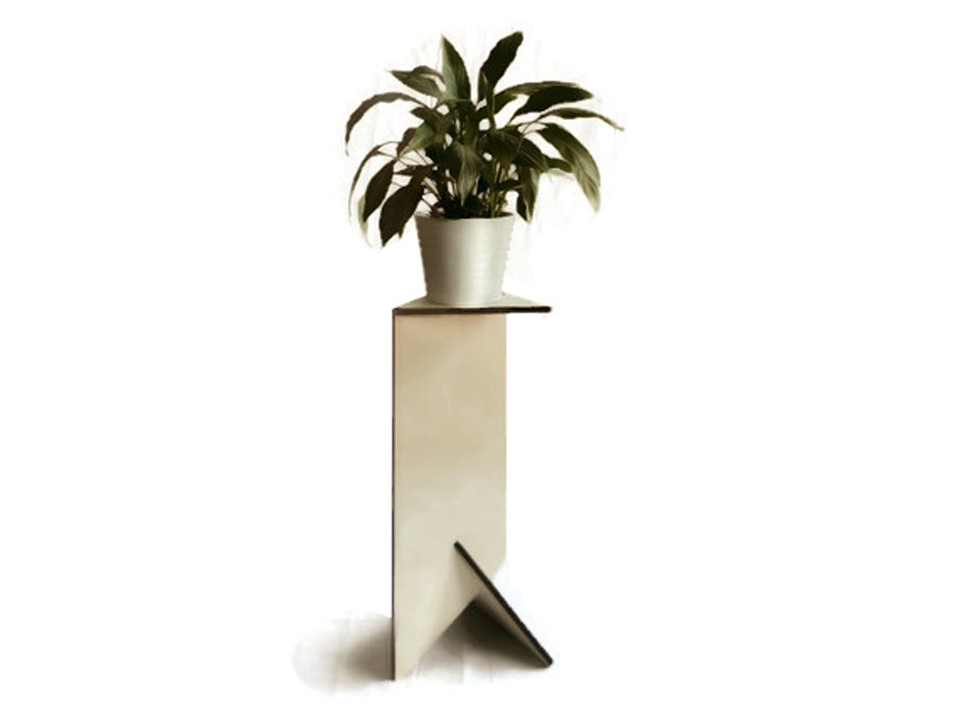 Triangular wooden pot plant stand alone for indoors in many colors as white Tall modern living room accent table Bathroom flowerpot stands Laser cut wood pedestal side tables planters holder by LOHN | Little Objects for Huge Needs