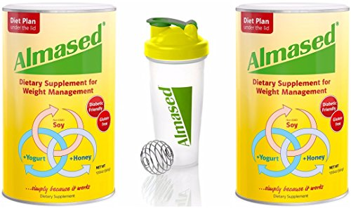 Almased HIGH-QUALITY NON-GMO SOY+YOGURT+HONEY Protein Powder, Supports Weight Loss, Optimal Health and Maximum Energy, 17.6 Ounces 2-PACK WITH FREE BLENDER BOTTLE