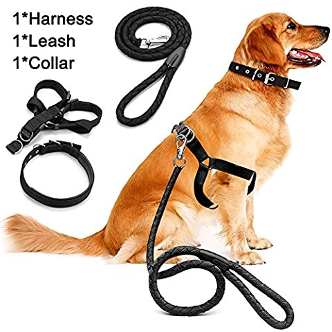 Dog Harness Leash Set,MAXIN Pet Traction Rope Heavy Duty Braided Nylon Harness Dog Leash with Chest Straps for Medium and Large Dogs.(Black)