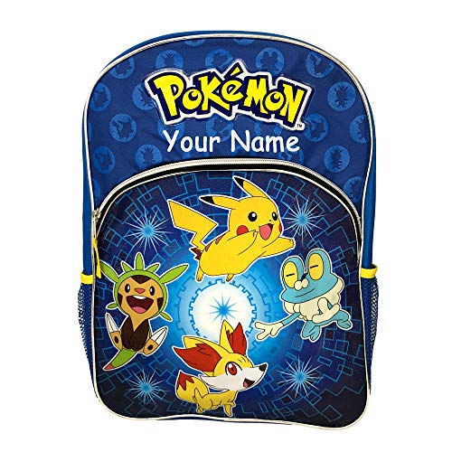 Personalized Pokemon Characters Blue Back to School Backpack Bookbag - 16 Inches]()