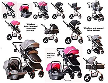 3 in 1 Combi Stroller Buggy Baby Child Pushchair Reverse or Forward Facing Rain Cover Mosquito Net Bottle Holder Foldable with FootMuff (Rose Red (Pink) with Silver Frame) Tomi