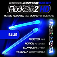 ROCKSTIX 2 HD BLUE, BRIGHT LED LIGHT UP DRUMSTICKS, with...