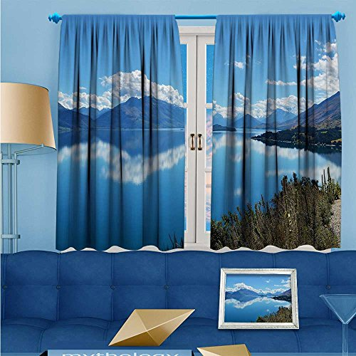 "Price comparison product image L-QNHOME 2 Panel Set Digital Printed Window Curtains The lake beneath the blue sky for Bedroom Living Room Dining Room 55"" W x 72"" L"