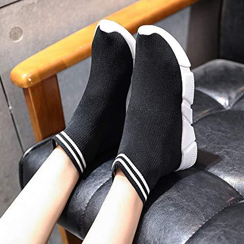 Calcetines para de de con Alto Damas Punto Calcetines Respaldo Calzado negro Calcetines Deportivo Casual de Hip Lucdespo elásticos Muffin Hop Calzado Calcetines fq8n4E