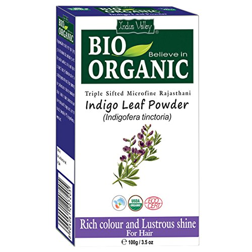 - Indus Valley Bio Organic Natural Indigo Leaf Henna Hair Color For Grey Hairs -100gm