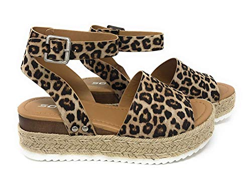 Soda Topic Casual Espadrilles Flatform Wedge Open Toe Sandal Oat Cheetah (11) -