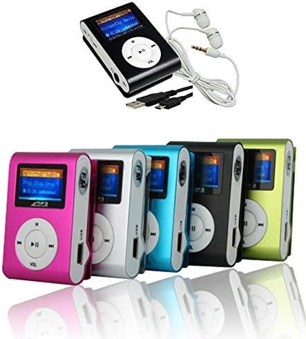 Takestop® Mini Reproductor MP3Clip USB con pantalla LCD Screen compatible con 32GB Micro SD FM Radio Color aleatorio