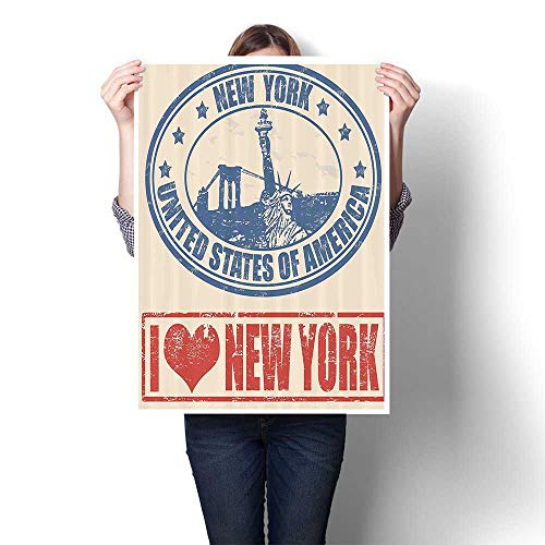 SCOCICI1588 1 Piece Wall Art Painting Vintage Love New York with Statue of Lirty Grunge Rubr Stamps Prints On Canvas for Living Room Decor,32